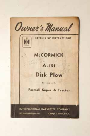 McCormick Cub-151 Disk Plow