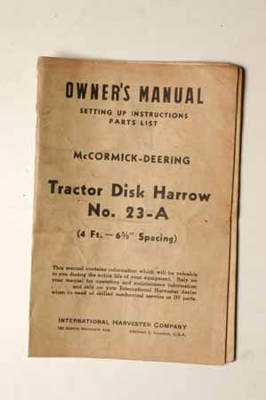 Owner's Manual McCormick- Deering Tractor Disk Harrow No. 23-A