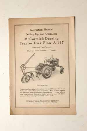 Setting up and operating Manual McCormick- Deering Tractor Disk Plow A-147