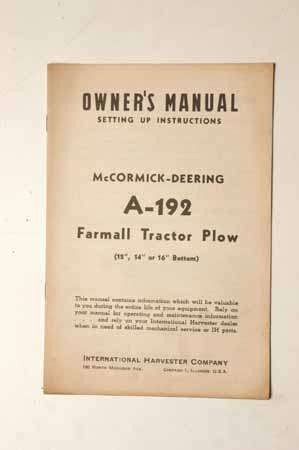 Owner's Manual McCormick- Deering Tractor Plow No.A-192