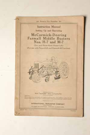 Owner's Manual McCormick- Deering Farmall Middle Busters No. H-7 And M-7