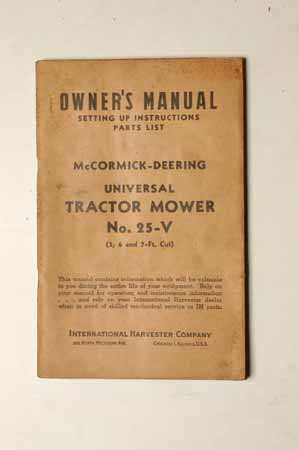 Owner's Manual McCormick- Deering Tractor Mower No. 25-V