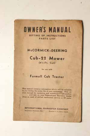 Owner's Manual McCormick- Deering Tractor Cub-22 Mower