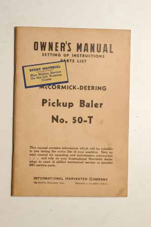 Owner's Manual McCormick- Deering Pickup Baler No.50-T