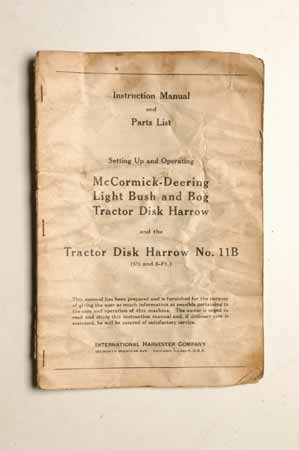 Owner's Manual McCormick- Deering Light Bush and BogTractor Disk Harrow