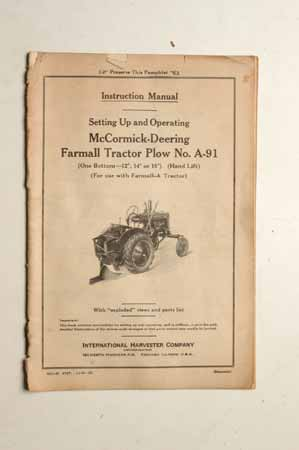 Owner's Manual McCormick- Deering Tractor Plow No.A-91