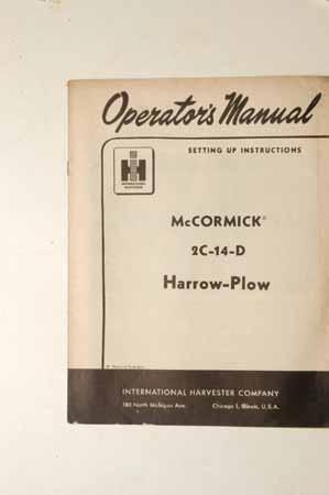 Owner's Manual McCormick 2C-14-D Harrow-Plow