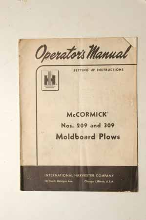 Owners Manual for McCormick Nos. 209 and 309 Moldboard Plows
