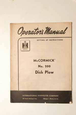Owners Manual for McCormick Nos. 200 Disk Plows
