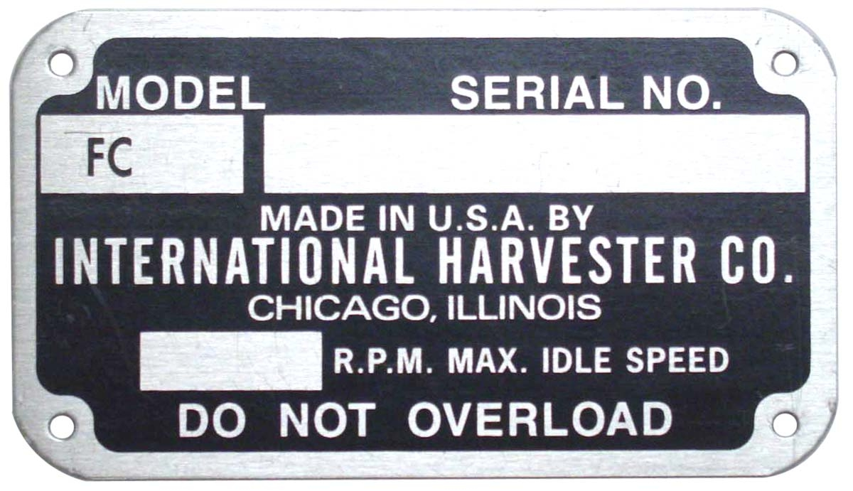 Data plate EARLY STYLE SERIAL NUMBER TAG (1948-1949)