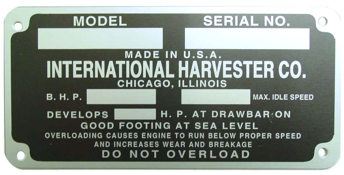 data plate serial number tag decals and emblems farmall parts Farmall 460 Tractor data plate serial number tag