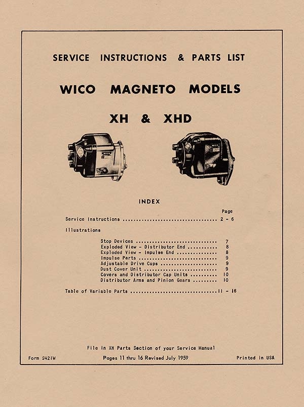 WICO XH AND XHD MAGNETO SERVICE (INSTRUCTIONS AND PARTS LIST) (1959)