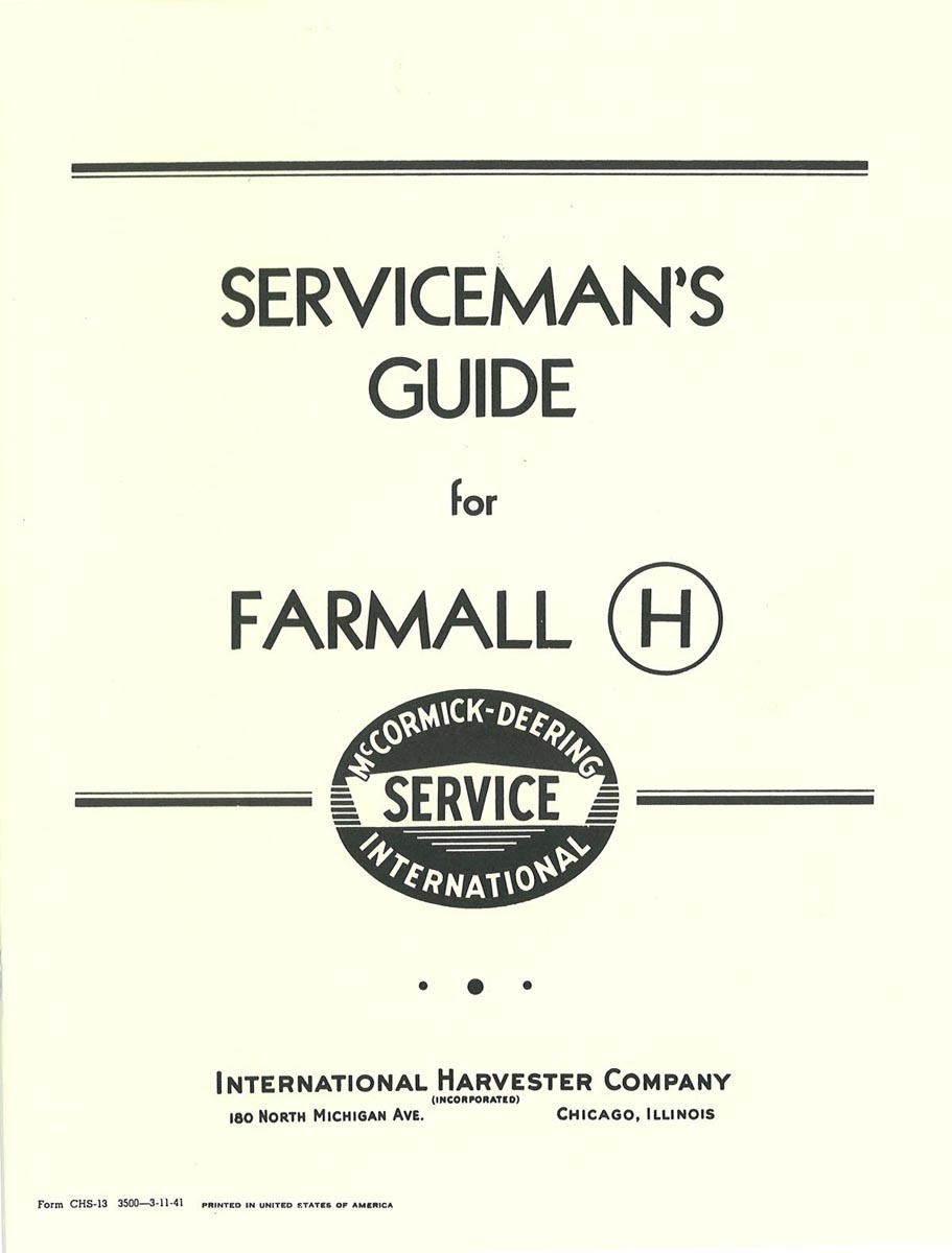 Serviceman's Guide for Farmall H