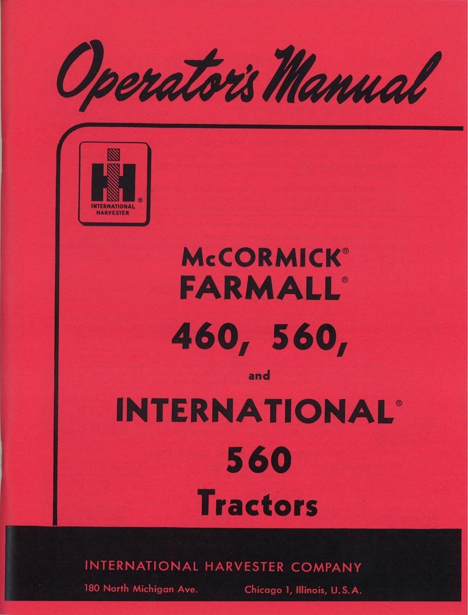 OPERATORS MANUAL - Farmall 460, 560