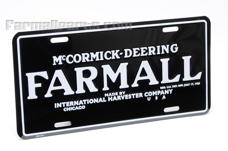 Black McCormick-Deering Farmall License Plate