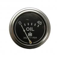 Oil pressure gauge for diesel and gas applications. 45lb, with IH logo in center. Chrome bezel with studs. 1/8 NPT male thread. Part Reference Numbers: 362036R91;362177R94 Fits Models: 105 COMBINE; 201 WINDROWER; 210 WINDROWER; 225 WINDROWER; 230; 240; 275 COMPACT TRACTOR; 300; 330; 340 TRACTOR; 350; 3616 INDUST/CONST; 375 SWATHER/WINDROWER; 3800 INDUST/CONST; 3850 INDUST/CONST; 400; 450; 453 HILLSIDE COMBINE; 460 INDUST/CONST; 460 TRENCHER; 50; 560; 560 TRENCHER; 600; 615 COMBINE; 650 INDUST/CONST; 660 CULTIVATOR; 660 TRENCHER; 715 COMBINE; D236 ENG