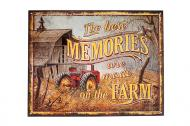 Beautiful metal The Best Memories are made on the Farm sign. Has a time worn look. Measures 12.5x16.