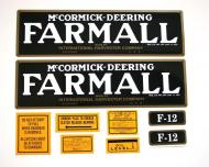 MYLAR DECAL SET --- CAUTION: INSPECT ALL DECAL PIECES BEFORE APPLYING TO TRACTOR. NO REFUNDS ON MYLAR DECALS IF APPLIED TO SURFACE AND / OR IF DAMAGED. NO REFUNDS ON VINYL CUT DECALS. STORE IN A COOL, DRY PLACE. DO NOT SOAK IN WATER. DETAILED APPLICATION INSTRUCTIONS ARE I --- International Applications: FARMALL F12