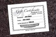 HOLIDAY SALE! $100 GIFT CERTIFICATES ONLY $90!  Farmallparts.com gift certificates are perfect for the dedicated IH Farmall enthusiast who has everything. These are available in denominations of any amount, and can be mailed to you or directly to the intended recipient. Printed on thick cardstock. Let us know who you want them made out to and who they\'re from and will include those names on front. Under \Vehicle Information\ go to the comment section and type in \To: Mary Binder, From: John Binder\ and we\'ll personalize your gift certificate!