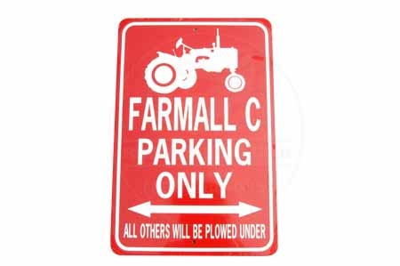Farmall C Tractor Parking Only Sign White/Red